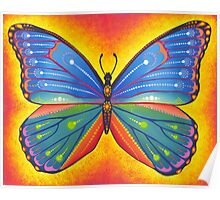 rainbow vibrant butterfly Poster