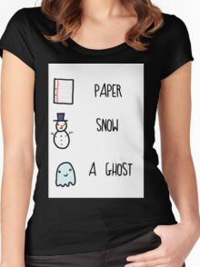 Paper, Snow, a Ghost!! Women's Fitted Scoop T-Shirt