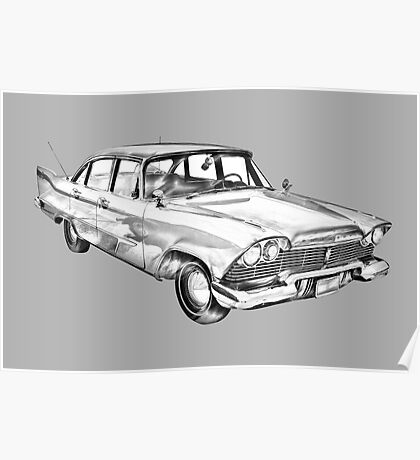 1958 Plymouth Savoy Classic Car Illustration Poster