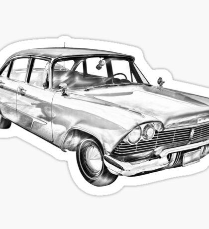 1958 Plymouth Savoy Classic Car Illustration Sticker