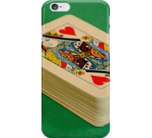Queen of Hearts Deck of Playing Cards on Green Baize Poker Table iPhone Case/Skin