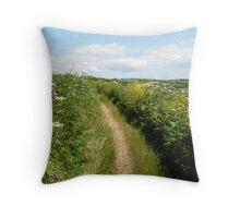 Cornish coastpath Throw Pillow