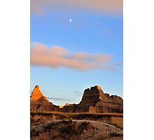 Badlands National Park / Day Moon Photographic Print