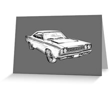 1970 Dodge Charger R/t Muscle Car Illustration Greeting Card