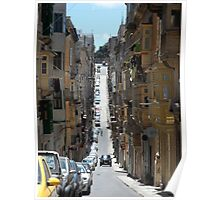Narrow Street with Houses and Balconies in Malta Poster