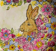 Hare in the meadow by LauraLeeDesigns