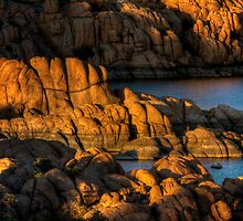 Light Play On Watson Lake by Bob Larson