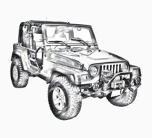 Jeep Wrangler Rubicon Illustration One Piece - Short Sleeve