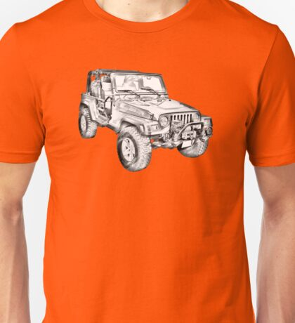 Jeep Wrangler Rubicon Illustration Unisex T-Shirt