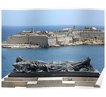 Fallen Soldier Memorial Statue Overlooking Grand Harbour Malta Poster