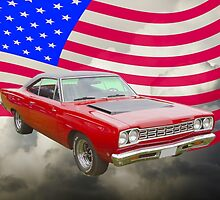 Red 1968 Plymouth Roadrunner and US Flag by KWJphotoart