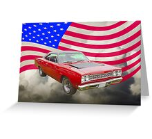 Red 1968 Plymouth Roadrunner and US Flag Greeting Card