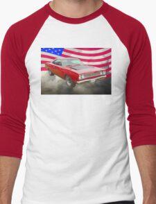 Red 1968 Plymouth Roadrunner and US Flag Men's Baseball ¾ T-Shirt