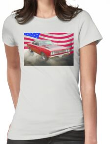Red 1968 Plymouth Roadrunner and US Flag Womens Fitted T-Shirt