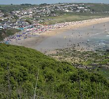'A Busy Beach' at Praa Sands, West Cornwall by Anne Sanders