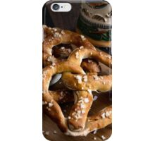 Authentic German Pretzels with Beer Stein and Mustard on Wood iPhone Case/Skin