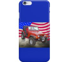 Red Jeep Wrangler Rubicon with American Flag iPhone Case/Skin