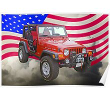 Red Jeep Wrangler Rubicon with American Flag Poster