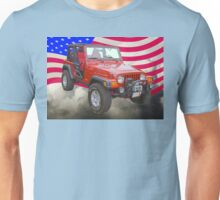 Red Jeep Wrangler Rubicon with American Flag Unisex T-Shirt