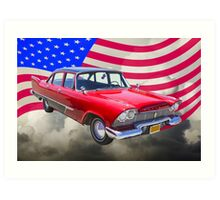 1958 Plymouth Savoy Car With American Flag Art Print