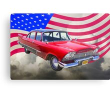 1958 Plymouth Savoy Car With American Flag Metal Print