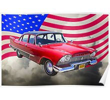 1958 Plymouth Savoy Car With American Flag Poster