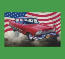 1958 Plymouth Savoy Car With American Flag Kids Clothes