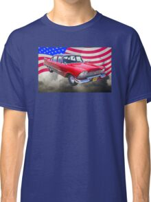 1958 Plymouth Savoy Car With American Flag Classic T-Shirt
