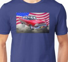 1958 Plymouth Savoy Car With American Flag Unisex T-Shirt