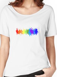 Customize rainbow paint splash drips gay pride geek funny nerd Women's Relaxed Fit T-Shirt