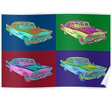 1958 Plymouth Savoy Classic Car Pop Art Poster