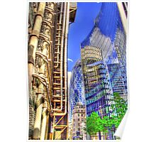 The Lloyds Building - The Gherkin - The Willis Building - HDR Poster
