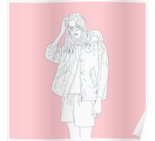 tired girl pink background Poster