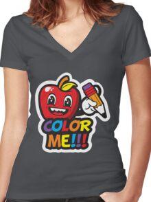 MRS APPLE Women's Fitted V-Neck T-Shirt