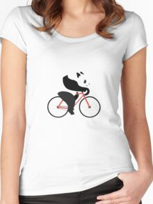Cycling panda geek funny nerd Women's Fitted Scoop T-Shirt