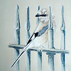 Bird on the railings by Lesley Rowe