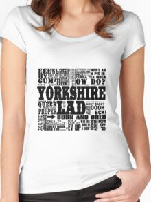 YORKSHIRE LAD BLACK PRINT Women's Fitted Scoop T-Shirt