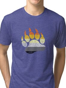 Distressed bear pride flag bear paw geek funny nerd Tri-blend T-Shirt