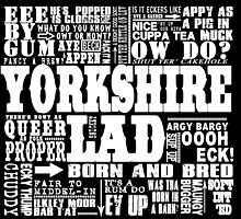 YORKSHIRE LAD WHITE PRINT by DOOLALLY