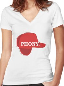 Catcher in the Rye Shirt – Holden Caufield, Phony Women's Fitted V-Neck T-Shirt