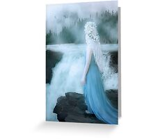 Elven girl at waterfall emotional Greeting Card