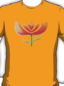 Abstract orange flower on white T-Shirt