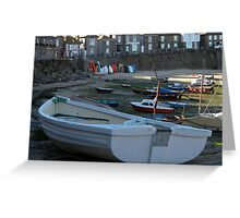 'Surf Boards and Boats' Mousehole, West Cornwall Greeting Card