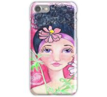 Whimiscal Girl with Flowers iPhone Case/Skin
