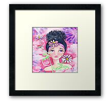 Whimiscal Girl with Flowers Framed Print