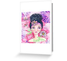 Whimiscal Girl with Flowers Greeting Card