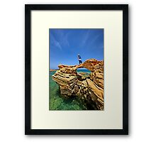 Rocky bridge to the Cretan sea Framed Print