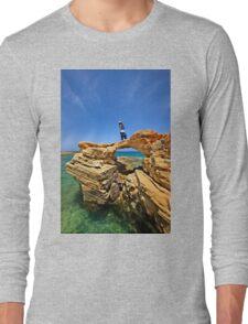 Rocky bridge to the Cretan sea Long Sleeve T-Shirt