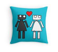 Lady bots in love geek funny nerd Throw Pillow