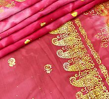 Traditional Pink Gold Asian Indian Sari Pattern Wedding Gown by HotHibiscus